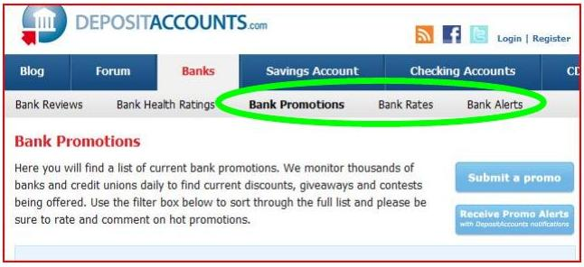DepositAccounts.com bank promotions menu
