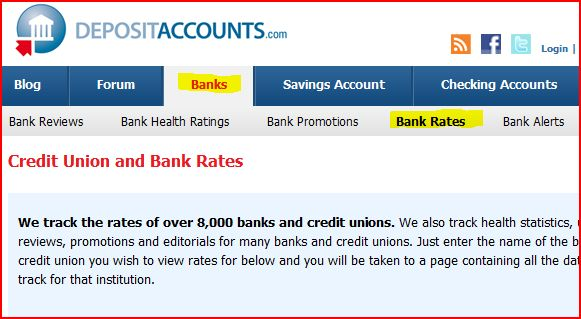 locating the DepositAccounts.com bank rates page