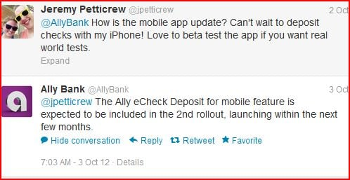 Ally Bank Twitter customer service example