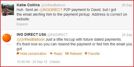 ING DIRECT Twitter customer service example